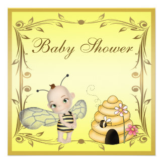 Cute Baby Bee Beehive Baby Shower Personalized Announcement