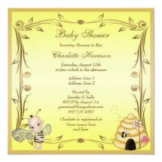 Cute Baby Bee & Beehive Baby Shower Personalized Announcement