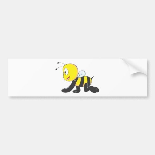 Cute Baby Bee Crawl on Floor Shirt Bumper Sticker