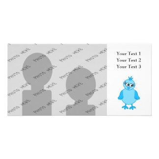 Cute Baby Bird, Blue. Photo Card Template