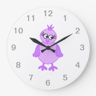Cute Baby Bird in Purple and Lilac. Large Clock