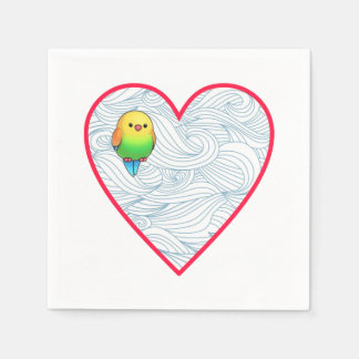 Cute baby bird on sweet heart disposable napkin