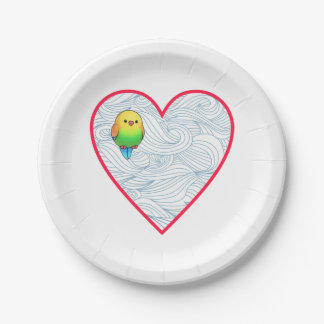 Cute baby bird on sweet red heart 7 inch paper plate