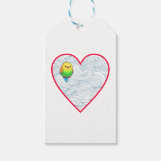 Cute baby birdie on sweet red heart gift tags