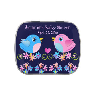 Cute Baby Birds baby shower text Tin Jelly Belly Tin