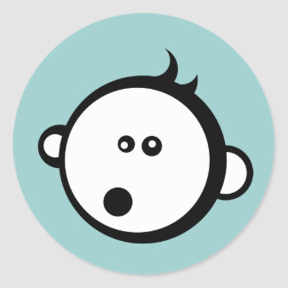 Cute baby blue boy cartoon sticker