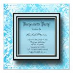 CUTE Baby Blue Damask Bachelorette Party Invitatio 5.25x5.25 Square Paper Invitation Card