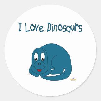 Cute Baby Blue Dinosaur I Love Dinosaurs Round Sticker