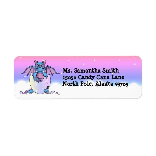 Cute Baby Blue Dragon in Egg Return Address Label
