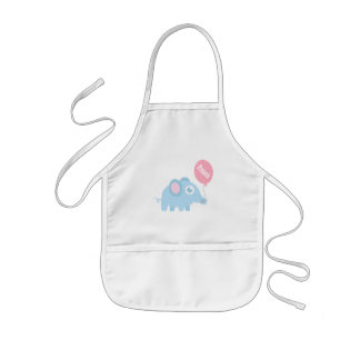 Cute baby blue elephant with balloon for kids kids' apron