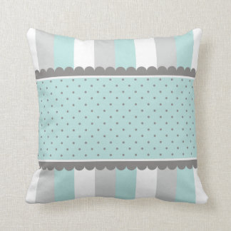 Cute Baby Blue & Gray Stripes and Polka Dots Cushion
