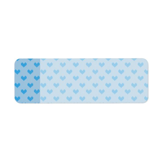 Cute Baby Blue Little Knitted Hearts Return Address Label