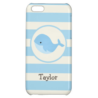 Cute Baby Blue Whale; Stripes iPhone 5C Cover