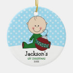Cute Baby Boy 1st Christmas Personalised Round Ceramic Decoration