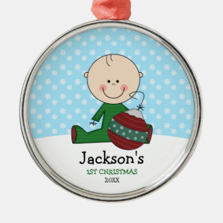 Cute Baby Boy 1st Christmas Personalized Silver-Colored Round Decoration