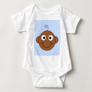 Cute Baby Boy. Blue Check Background. Baby Bodysuit
