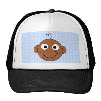 Cute Baby Boy. Blue Check Background. Trucker Hat
