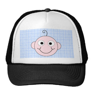 Cute Baby Boy Blue Check Background Trucker Hats
