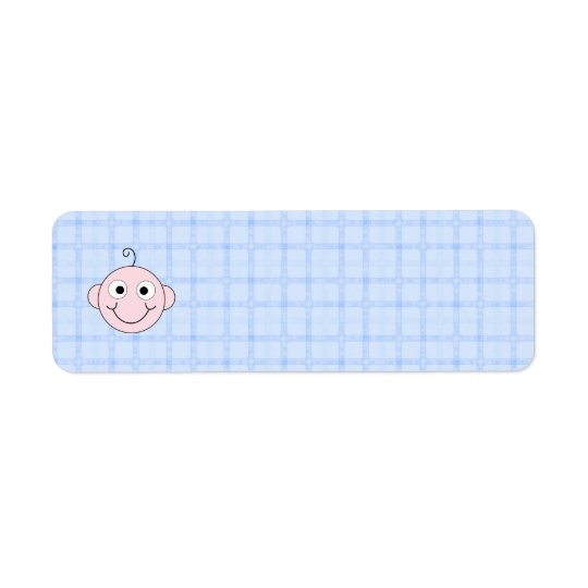 Cute Baby Boy. Blue Check Background. Return Address Label