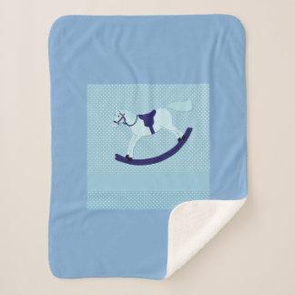 Cute Baby Boy Blue Rocking Horse Sherpa Blanket