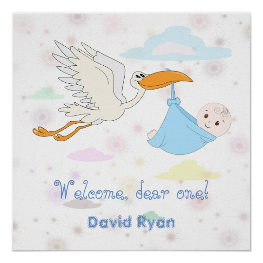 Cute Baby Boy carried by a Stork Custom