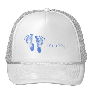 Cute Baby Boy Footprints Birth Announcement Trucker Hat