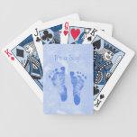 Cute Baby Boy Footprints Birth Announcement Card Deck