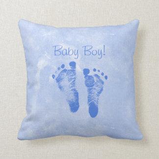 Cute Baby Boy Footprints Birth Announcement Cushion