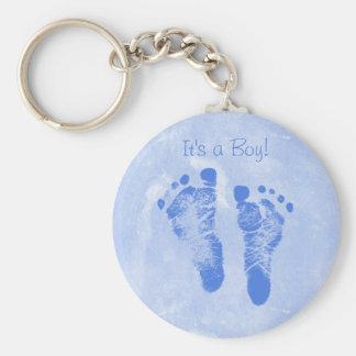 Cute Baby Boy Footprints Birth Announcement Key Chain