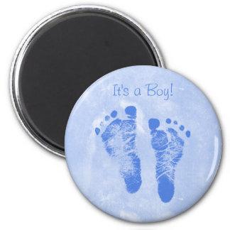 Cute Baby Boy Footprints Birth Announcement Magnet