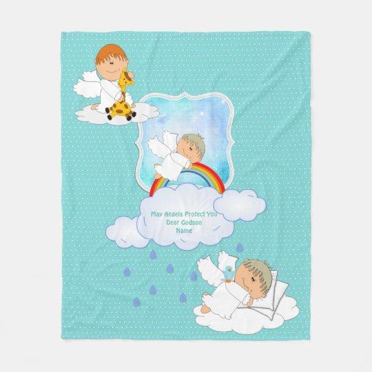 Cute Baby BOY Godson Angels Personalised Fleece