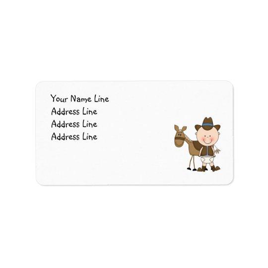 Cute Baby Boy & Horse Pony Custom Western Address Label