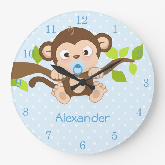 Cute Baby Boy Monkey Blue Polka Dots Wall