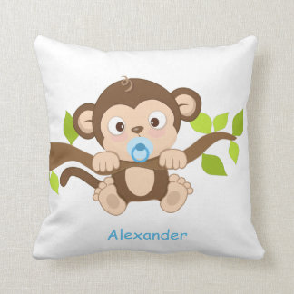 Cute Baby Boy Monkey Throw Pillow