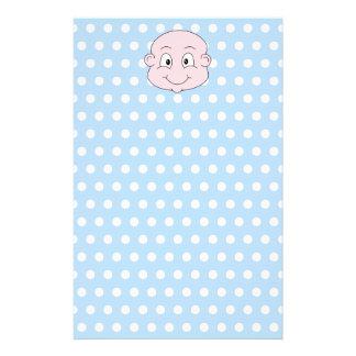 Cute Baby Boy, on blue polka dot pattern. Stationery