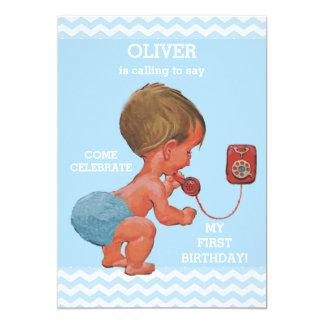 Cute Baby Boy on Phone 1st Birthday Chevrons 13 Cm X 18 Cm Invitation Card