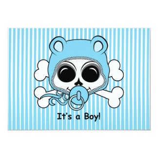 Cute Baby Boy Skull 13 Cm X 18 Cm Invitation Card