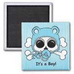 Cute Baby Boy Skull Square Magnet