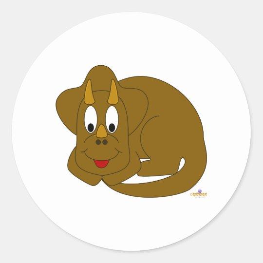 Cute Baby Brown Dinosaur Classic Round Sticker