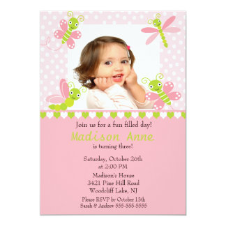 "Cute Baby Bugs Photo Birthday Invitation 5"" X 7"" Invitation Card"