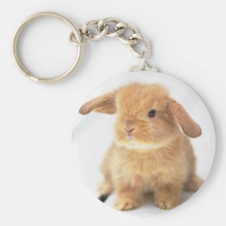 Cute Baby Bunny Happy Easter Design Key Ring
