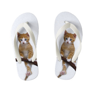 Cute Baby Cat Kitten Funny Play Gym Photo - Kids Flip Flops