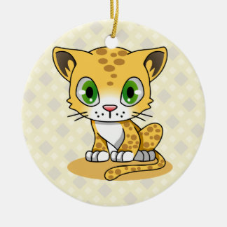 Cute baby cat leopard cartoon kids christmas ornament