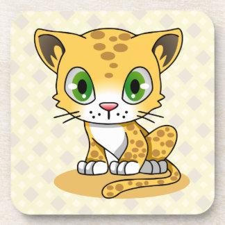 Cute baby cat leopard cartoon kids coaster