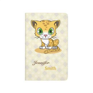 Cute baby cat leopard cartoon name kids journal
