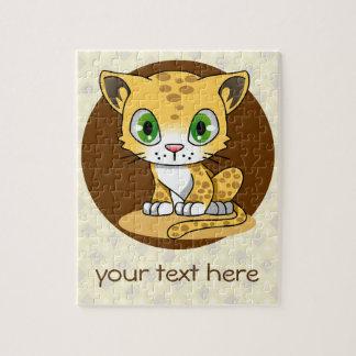 Cute baby cat leopard kawaii cartoon custom kids jigsaw puzzle