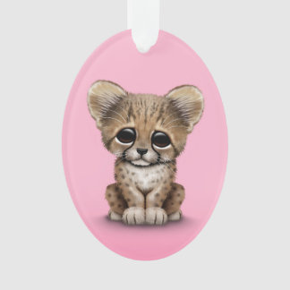 Cute Baby Cheetah Cub on Pink Ornament