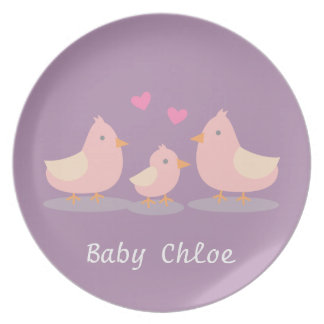 Cute Baby Chick and Bird Family For Kids Party Plates