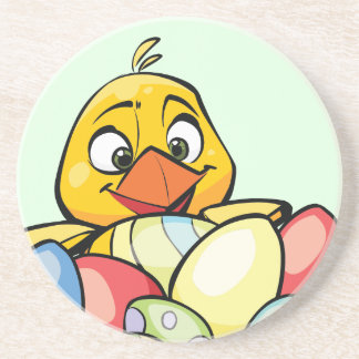 Cute Baby Chick and Easter Eggs Beverage Coaster