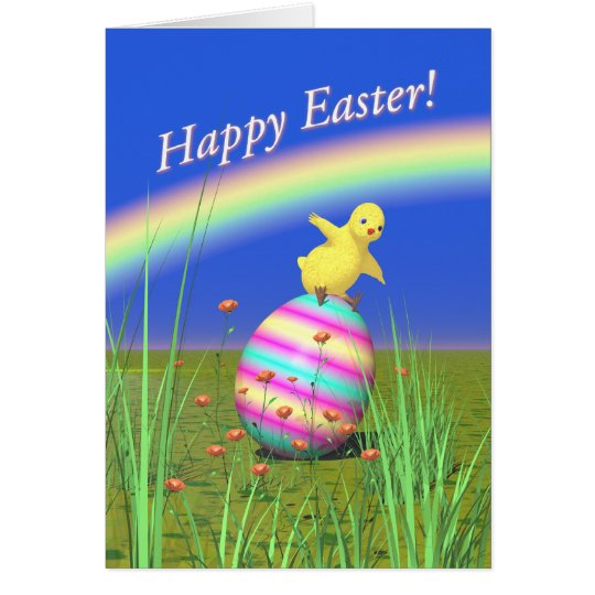 Cute Baby Chick on Easter Egg Card